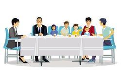 Еда с семьей иллюстрация вектора