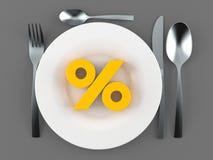 Еда с символом процентов иллюстрация штока
