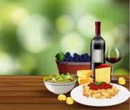 Еда с сценой вина иллюстрация штока