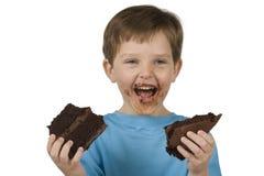 еда торта мальчика Стоковая Фотография RF