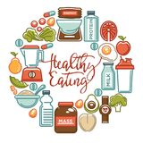Еда фитнеса и продукты питания здорового питания спорт дополняют плакат значков вектора Стоковое Фото
