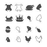 Еда цыпленка, установленные значки ног Стоковые Фото