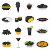 Еда черного вектора еды черноватая варя с почерненными макаронными изделиями или рис и чернят черноту иллюстрации блэкджека пить бесплатная иллюстрация