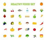 Еда шаржа здоровая подписывает комплект значков цвета большой вектор иллюстрация штока
