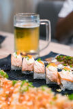 Еда Японии, суши nigiri, комплект еды Стоковые Фотографии RF