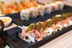 Еда Японии, суши nigiri, комплект еды Стоковые Изображения