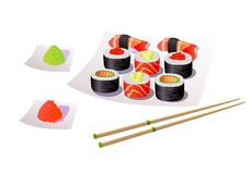 Еда японца суш бесплатная иллюстрация