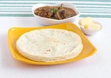 Еда Roti риса индийская вегетарианская Стоковая Фотография