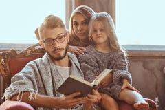 Единение семьи Рассказ чтения мамы, папы и дочери записывает совместно сидеть на кресле Семья и родительство стоковые изображения
