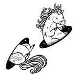 Единорог в волшебстве teleport Линейный черно-белый чертеж иллюстрация вектора