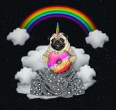 Единорог кота с донутом на облаке 2 бесплатная иллюстрация