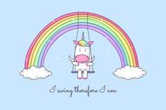 Единорог мультфильма отбрасывая на радуге иллюстрация штока