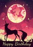 Единорог открытки в wizarding мире Стоковые Изображения
