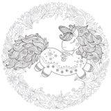 Единорог шаржа Zentangle стилизованный изолированный на белой предпосылке  иллюстрация штока