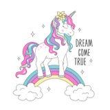 Единорог яркого блеска на радуге для футболок Мечта приходит истинный текст Дизайн для детей Чертеж иллюстрации моды в современно иллюстрация вектора