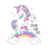 Единорог яркого блеска на радуге для футболок Мечта приходит истинный текст Дизайн для детей Чертеж иллюстрации моды в современно бесплатная иллюстрация