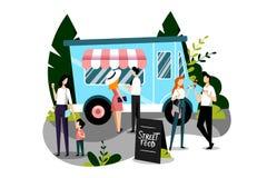 Еды фаст-фуда людей покупая в тележке еды Иллюстрация вектора плоская красочная Концепция фестиваля еды улицы иллюстрация штока