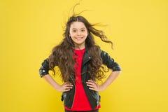 Ее волосы излучают здоровье Ветер может также повредить волосы Сильные настойчивые ветры могут создать путать и выхваты в волнист стоковое изображение