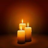 3-ее воскресенье пришествия - третьей свечи - свет горящей свечи Стоковая Фотография