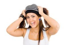 ее детеныши женщины ponytails удерживания Стоковое Фото