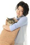 Ее кот в сумке Стоковая Фотография