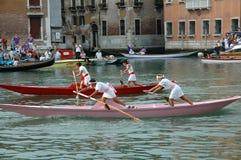 Ежегодная регата вниз с грандиозного канала в Венеции Италии Стоковое фото RF