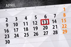 Ежедневная страница календаря дела 13-ое апреля 2018 Стоковые Фото