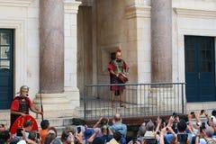 Ежедневное представление в дворце ` s Diocletian, разделение, Хорватия Стоковое Изображение