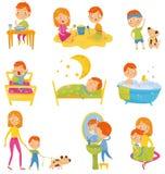 Ежедневный режим мальчика Оягнитесь еда завтрака, играющ, делающ физические упражнения, просыпающ вверх, спать, принимая ванну иллюстрация штока