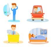 Ежедневный режим одного бизнесмена Иллюстрация вектора
