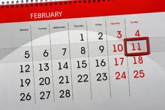 Ежедневным Scheduler изолированный месяцем календаря 11-ое февраля 2018 стоковое фото rf