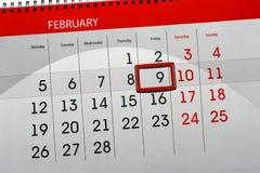 Ежедневным Scheduler изолированный месяцем календаря 9-ое февраля 2018 стоковое изображение rf