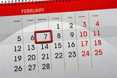 Ежедневным Scheduler изолированный месяцем календаря 7-ое февраля 2018 стоковое изображение