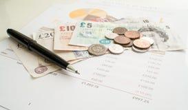 Ежемесячное расходование планируя, Sterling английского фунта Стоковое Фото