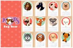 Ежемесячные дети calendar 2018 с смешными собаками, щенятами Стоковые Изображения RF