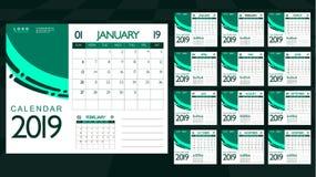 Ежемесячный календарь 2019 Самый лучший выбор для планированиe бизнеса иллюстрация штока