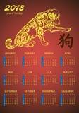 Ежемесячный календарь 2018 с милой собакой Зима, весна, лето, осень приправляет характеры Иллюстрация вектора для плановика Стоковая Фотография RF