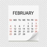 Ежемесячный календарь 2018 с скручиваемостью страницы Календарь разрыва- на февраль Белая предпосылка бесплатная иллюстрация