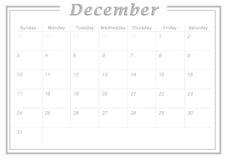Ежемесячный календарь декабрь 2017 Стоковая Фотография RF
