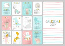 Ежемесячный творческий календарь 2019 с милыми животными Концепция, шаблон вектора вертикальный editable Символ года в иллюстрация вектора