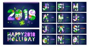 Ежемесячный шаблон 2018 календаря Стоковые Изображения RF