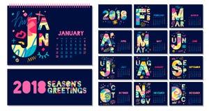Ежемесячный шаблон 2018 календаря Стоковая Фотография