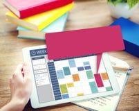 Еженедельная концепция организатора назначения события план-графика стоковая фотография
