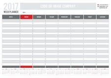 Еженедельный плановик с календарем 2017 для компаний и частной пользы иллюстрация штока
