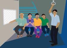 Ежедневная жизнь в индийском пригородном поезде Стоковые Фото
