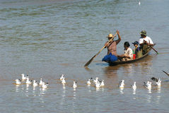 Ежедневная жизнь в канале около озера Inle, Мьянмы Стоковое фото RF
