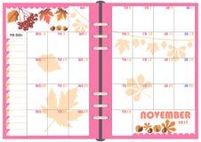 Ежедневный плановик ноябрь 2017 Стоковое Фото