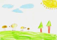 Ежи и грибы в лесе, чертеже childs бесплатная иллюстрация