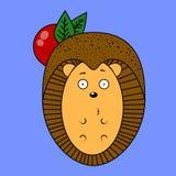 Еж иллюстрации с яблоком Стоковые Фотографии RF