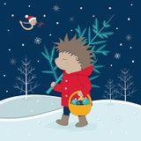 Еж с деревом идет в иллюстрацию рождества вектора леса Стоковые Изображения